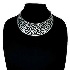 BCBG Silver Crescent Moon Filigree Bib Necklace